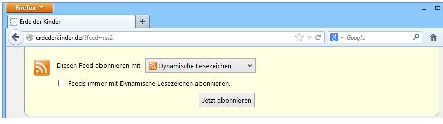 """Jetzt abonnieren"" (Firefox)"