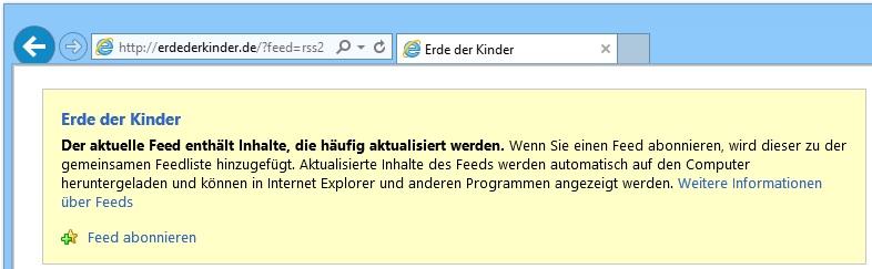 """Feed abonnieren"" (Internet Explorer)"